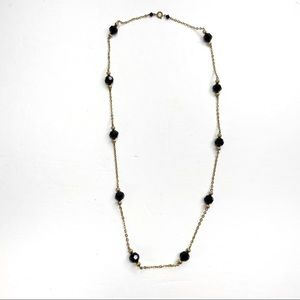 Gold Tone & Black Faceted Beaded Chain Necklace